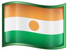 nigerian flag icon. - stock illustration