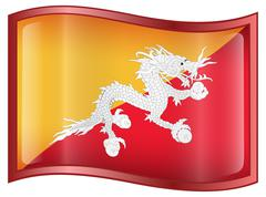 bhutan flag icon. - stock illustration
