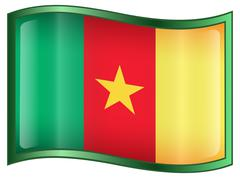 cameroon flag icon. - stock illustration