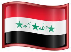 iraq flag icon. - stock illustration