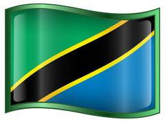 Tanzania flag icon. Stock Illustration