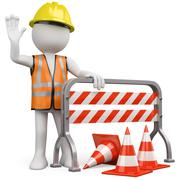 Worker with a reflective vest and hard hat leaning on a construction barrier Stock Illustration