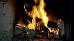 Roaring fire in a fireplace. Stock Footage