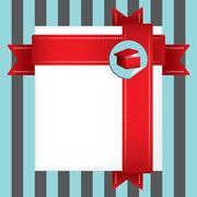 holidays greetings gift card wrapped in red ribbon - stock illustration