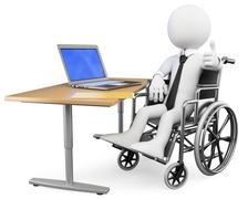 3d businessman white people. handicapped office worker Stock Illustration