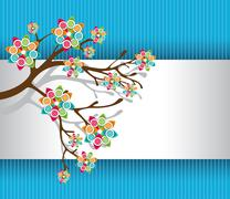 stylized tree with colorful blossoms light - stock illustration