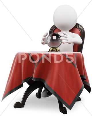 Stock Illustration of 3d white people. fortune teller with a crystal ball