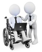 3d white people. disabled businessman working with a partner Stock Illustration