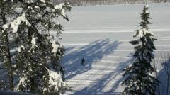 Walking on the lake Stock Footage