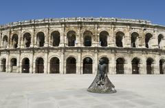 ancient arenas of nimes - stock photo