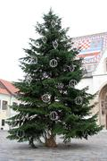 christmas tree in fron of st. mark's chruch in zagreb - stock photo