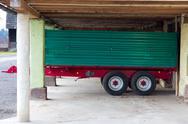 Green red trailer Stock Photos