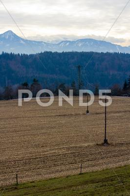 Stock photo of electricity towers in an austrian landscape