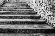 Old steps in black and white Stock Photos