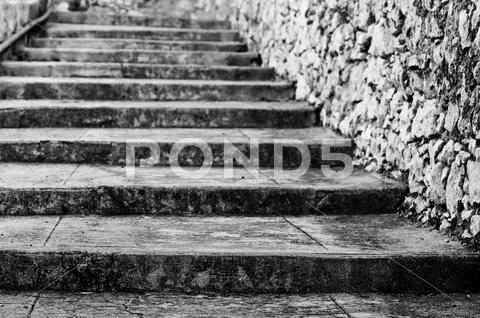 Stock photo of old steps in black and white