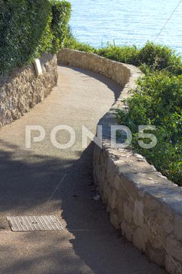 Stock photo of walkway along a coast