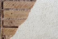 Texture Wood slates with mortar and drywall background Stock Photos
