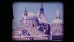 Vintage 8mm. View of church in Padova - stock footage
