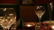 Christmas table CU LR pan mid focus RT v4 Stock Footage
