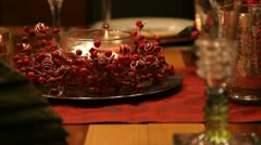 Christmas table CU RL pan mid focus RT v1 - stock footage