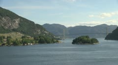 Norway Lysefjord bridge and island s Stock Footage