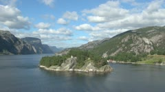 Norway Lysefjord island lighthouse and fjord view s Stock Footage