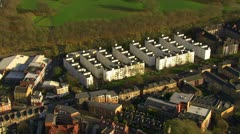 Aerial view of a residential area of London on a clear bright day Stock Footage