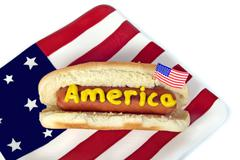 4th of July hot dog - stock photo
