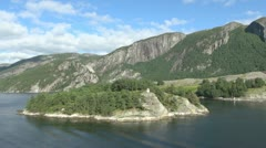 Norway Lysefjord lighthouse on an island timelapse s Stock Footage