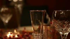 Christmas table CU RL pan near focus RT v1 Stock Footage