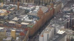 Stock Video Footage of Aerial view of famous London department store.