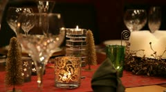 Christmas table CU static - stock footage