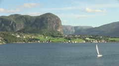 Norway Hagsfjordens sailboat s - stock footage