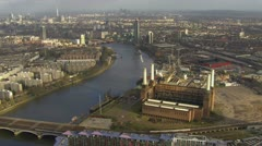 Stock Video Footage of Aerial view of Battersea Power Station in London and the surrounding area