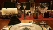 Christmas table MS RL pan mid focus RT v2 Stock Footage