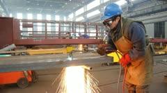 Steel Worker in Metal Industry Stock Footage