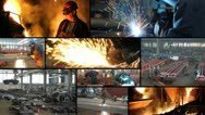 Stock Video Footage of Metal industry multiscreen