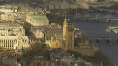 Aerial view of the city of Westminster in London Stock Footage