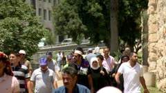 Arabs on the Way to Friday Prayer in Jerusalem 3 Stock Footage