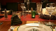 Christmas table MS RL pan mid focus RT v3 Stock Footage