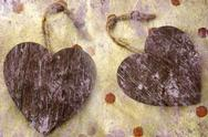 Stock Photo of two wooden hearts