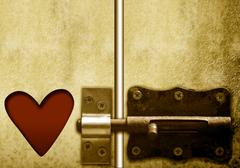 lockable door and heart, valentines day - stock photo