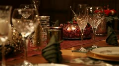 Christmas table MS static Stock Footage