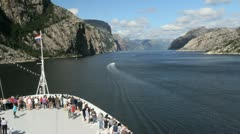 Norway Lysefjord with prow of ship c Stock Footage