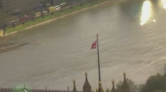 Aerial view of Lambeth bridge which crosses the River Thames in London Stock Footage