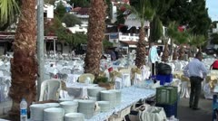 Restaurant tables outside Stock Footage