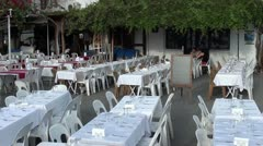 Tables prepared outside Stock Footage
