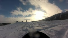 Snowboard Jump 1st Person Slowmotion Stock Footage