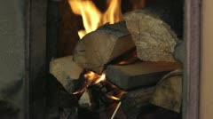 Firewood are burning in a stove Stock Footage