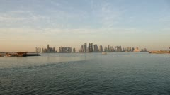 Qatar, Doha, Westbay from Al Corniche Wide before Sunset Stock Footage